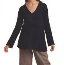 NWT Flax Pima Cotton Wide Ribbed LONG PULLOVER Sweater sz S/M - M/L $158 BLACK