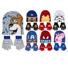 Boys Character Stretch Knitted Beanie Hat And Gloves Set Kids Warm Winter Gift