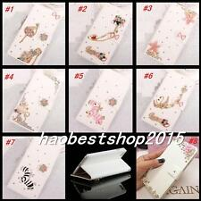 Bling Crystal Magnetic Diamonds PU leather flip slots wallet phone case cover H5