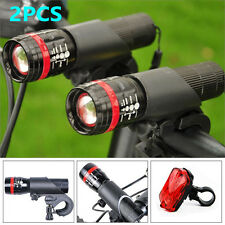 2PC LED Bicycle Cycling Torch Head Lamp Flashlight Set   1PC Rear Tail Light Lot