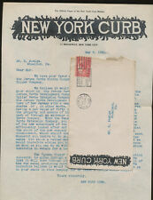 USA 1921 cover & Stockbroker Letter, May 1921- NEW YORK CURB MARKET, 11 Broadway