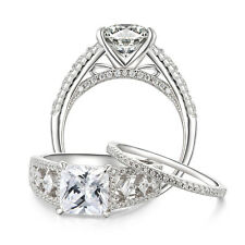Women's Princess AAA Cz 925 Sterling Silver Engagement Wedding Ring Set Sz 5-10