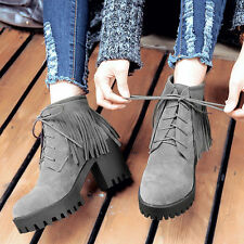 BACK TASSELS SHOES HEELS NEW FASHION ANKLE BOOTS BLOCK HEEL COMFORT LACE UP