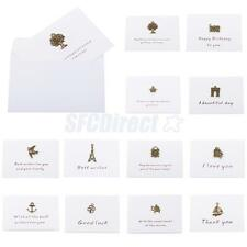 10x Metal White Paper Mini Invitation Thank You Best Wishes Cards Wedding Party