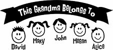 THIS GRANDMA BELONGS TO.... CAR WINDOW DECAL...PICK YOUR SIZE AND COLOR