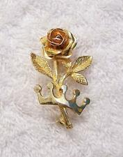 CLASSIC PIN BROOCH ROSE FLOWER BLOOM BLOSSOM THORN PETAL FERN FROND FLORAL 300-2