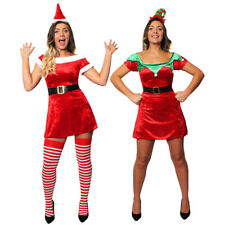 LADIES MISS SANTA DRESS / SEXY ELF VELOUR SKATER MRS CLAUS CHRISTMAS FANCY DRESS