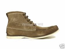 John Varvatos USA Mens Brown Sandstone Suede Leather Star Clipper Moc Toe Boots