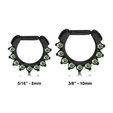 "Black Surgical Steel Septum Clicker Nose Ring Hoop Green CZ 5/16"" 3/8"" 14G 16G"