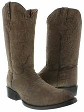 mens brown full elephant bison bull design leather riding cowboy western boots