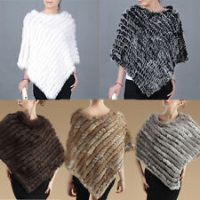 Real Genuine Knitted Rabbit Fur Cape Stole Shawl Poncho Vintage Scarf Wrap Coat