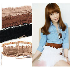 Fashion Women Elastic Wide Stretch Buckle Lace Waistband Waist Belt