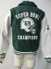 NY Jets Womens S - XL Super Bowl III Champions Wool Faux Leather Jacket JET 8