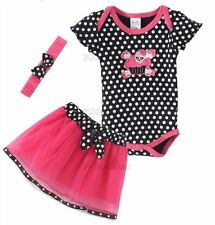 Halloween Toddler Headband+Romper+Skirt Hot Pink Baby Girl Infant Outfit Y