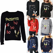 Women Novelty Christmas Prosecco Jumper Pullover Xmas Hoodie Sweater Tops 6-14