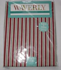 """New Waverly Fabric Tablecloth Cotton Stripe Red White Green 60 52 70 84"""" Holiday"""