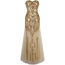 Angel-fashions Strapless Sequined A-line Tulle Lace up Long Evening Dresses vest