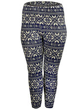 Ladies New Thick Knitted Stretchy Winter Leggings, Navy/Beige, Size 10-12, 14-16