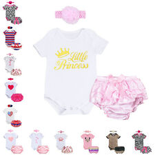 Baby Girls New Romper Jumpsuit Headband Pants 3PCs Infant Outfit Bloomer Clothes