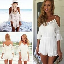 Women Clubwear V Neck Playsuit Bodycon White Party Geometric Jumpsuit Romper