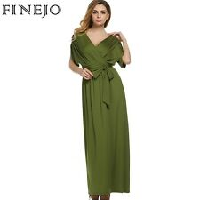 FINEJO Sexy Fashion Women Dress Batwing Sleeve Deep V Neck Maxi Long Dresses Par
