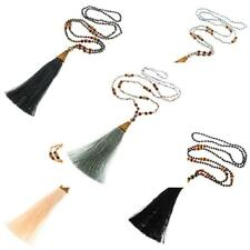 "32"" LONG BEADED PREMIUM CRYSTAL GLASS BEADS SEEDS WITH TASSEL PENDANT necklace"