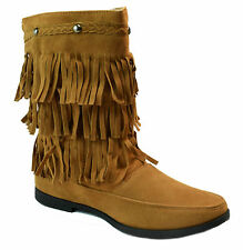 "Womens Chestnut Brown Faux Suede Moccasin 3 Layer Fringe 10"" Boots NEW"