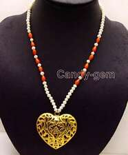 SALE 5-6mm White Round  Pearl and Drop Coral 20'' necklace & Heart Pendant-n6152