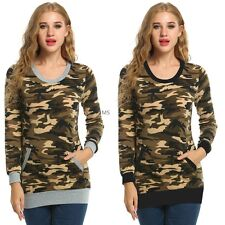 Casual Slim Women Long Sleeve Camouflage Print Blouse Tops with Pocket O-Neck