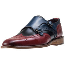 London Brogues Curtis Monk Mens Brogues Navy Black Red New Shoes