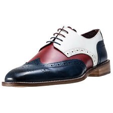 London Brogues Curtis Derby Mens Brogues Navy Red White New Shoes
