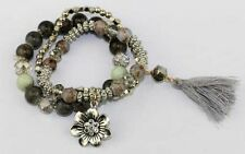 Stunning Girls Womens Faux Grey Beaded Bracelet Set With Charm & Tassel