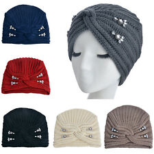 Women's Turban Soft Knit Headband Beanie Crochet Girl Hat Metal Jewel Flower Cap