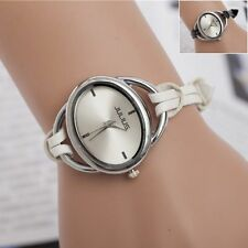 Fashion Women's Ladies Faux Leather Bangle Bracelet Analog Quartz Wrist Watches