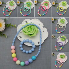 2Pcs Kids Infant Child Girls Colorful Bead Necklace Bracelet Set Jewelry Hot