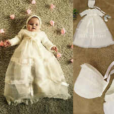 2016 New Baby Baptism Dresses White Ivory With Bonnet Christening Gown