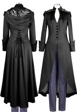 Black Steampunk Gothic Victorian Vamp Pagan Wiccan Corset Long Hood Coat