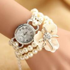 Sweet Girls Pearl Floral Bracelet Bangle Wrist Quartz Watch Gift Accessory