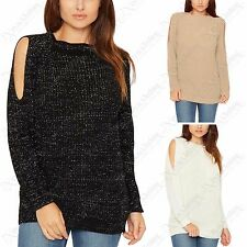 LADIES LUREX SILVER KNIT COLD SHOULDER JUMPER WOMENS CUT OUT SLEEVE KNITTED TOP