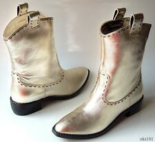 new $1295 Giuseppe ZANOTTI gold leather WESTERN-style ANKLE BOOTS 38 8 - AMAZING