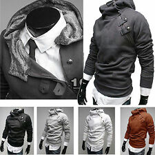 Mens Fur Collar Winter Hoodies Coat  Jacket Slim Fit Hooded Top Sweater Outwear