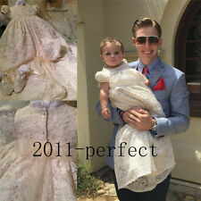 Baby Infant Baptism Dresses Lace Bishop Sleeve Christening Gown Dress+Bonnet New