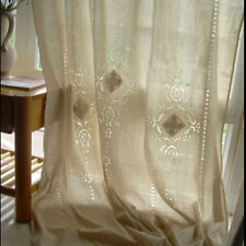 Rustic Country Hollow Crochet Cotton Linen Curtain Window Blackout Drapes Panel