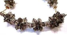 J Crew Crystal Droplets Gold Tone Smoked Glass Chain Necklace *