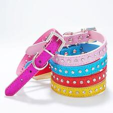 Adjustable Pet Dog Puppy PU Leather Rhinestone Buckle Neck Strap Collar Chain
