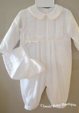 NWT Petit Ami White Longall Romper 3 Months Baby Boys Christening Baptism