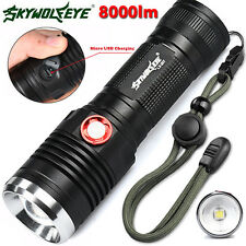 ZOOMABLE CREE XM-L2 U2 LED 3 Mode Flashlight USB Rechargeable 8000Lm Torch Lamps