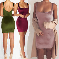 Womens Ladies Velvet Plunge Bodycon Strappy Christmas Wedding Party Mini Dress