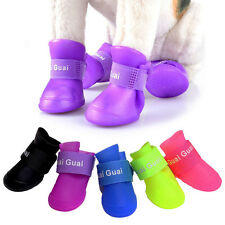 Waterproof 4pcs Pet Dog Rain Boot Puppy Rubber Walk Rain Shoes Booties Protector