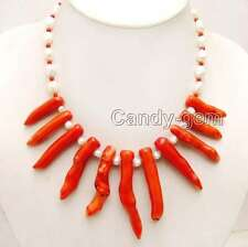 """Big 8*70mm Red Branch shape Coral & 7-9mm White Baroque Pearl 18"""" Necklace-n6161"""